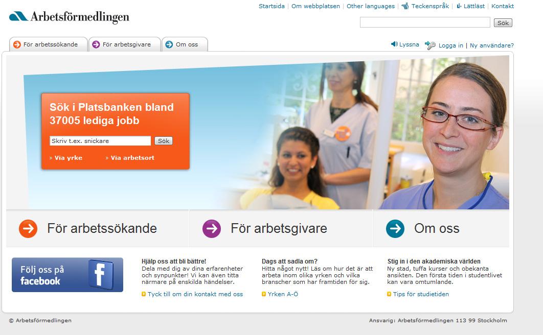 Web del servicio oficial de empleo de Suecia, Arbetsförmedlingen