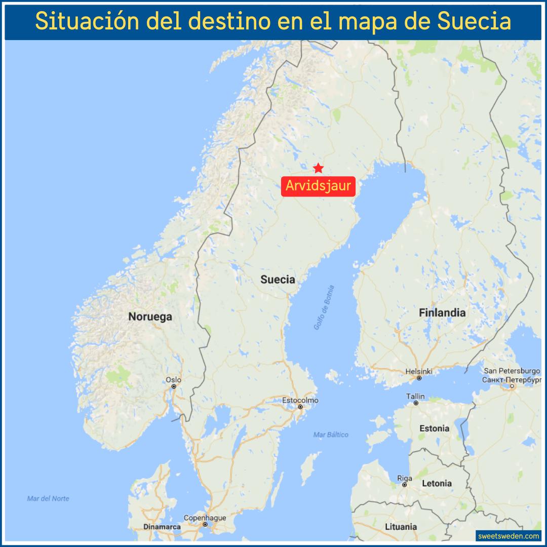 Arvidsjaur en el mapa de Suecia
