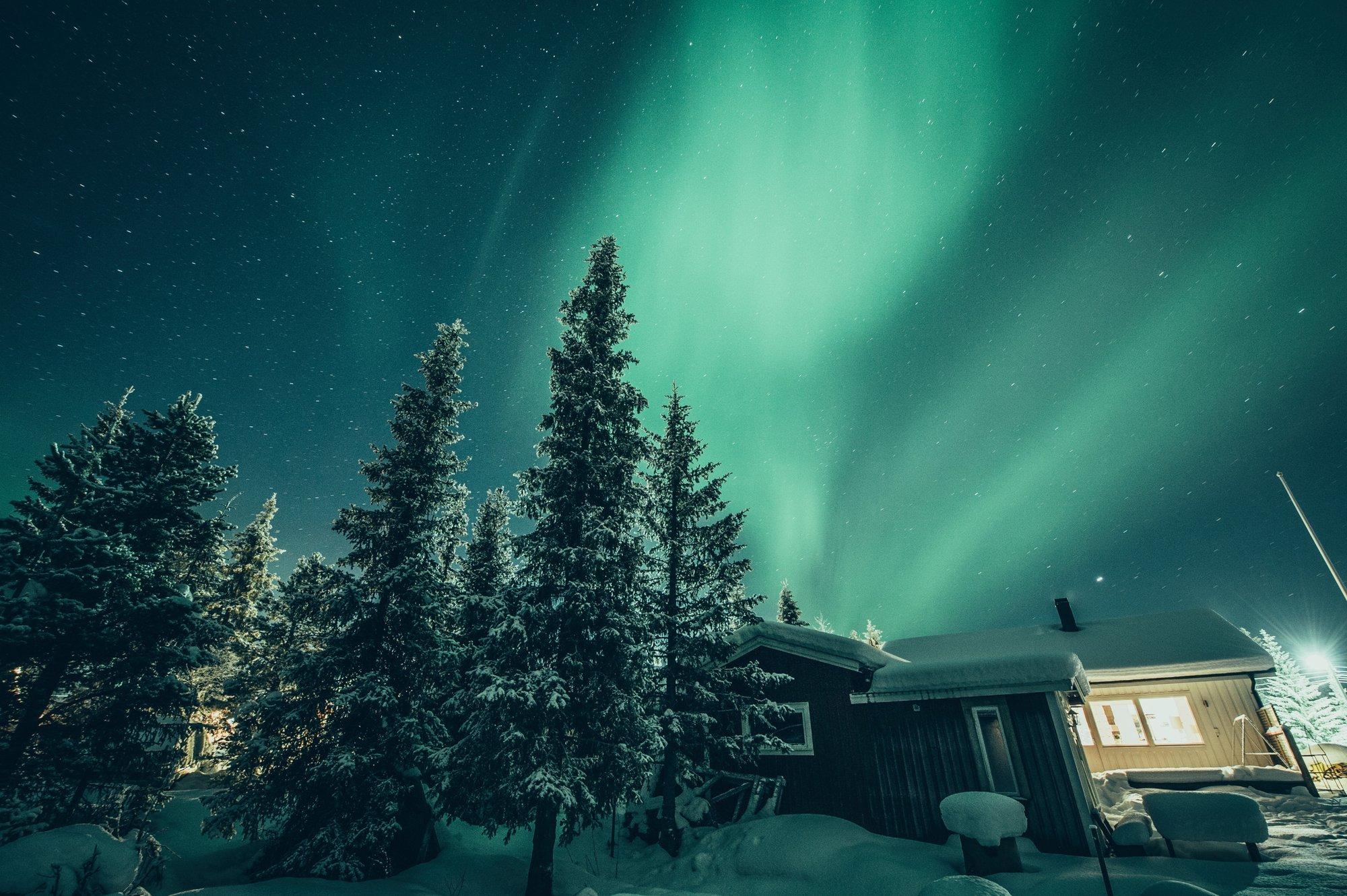 Auroras boreales desde el ICEHOTEL Foto: Asaf Kliger / imagebank.sweden.se