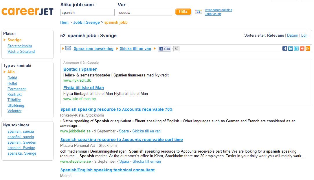 Careerjet, buscador de empleos en Suecia