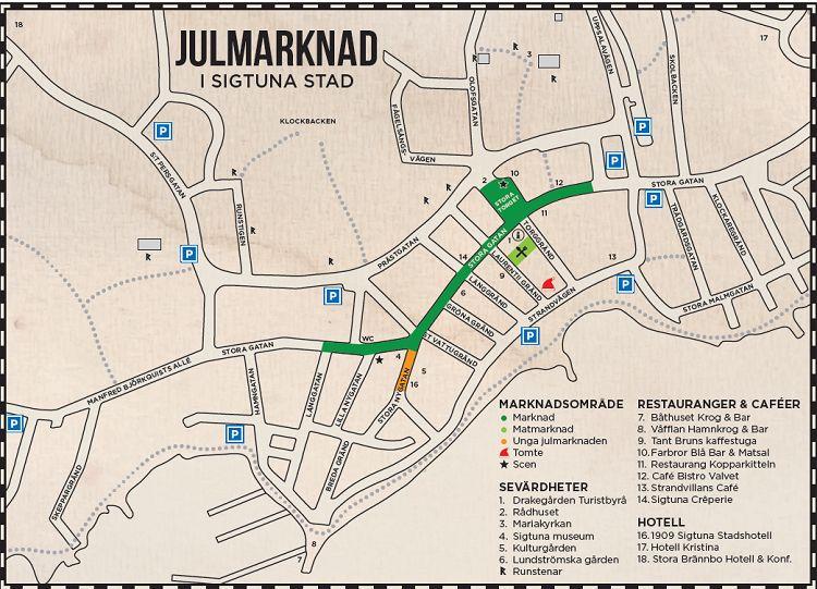 Mapa del mercado de Navidad del centro de Sigtuna