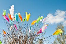 Las plumas que decoran las ramas en Suecia en Pascua Foto: Lola Akinmade Åkerström / imagebank.sweden.se