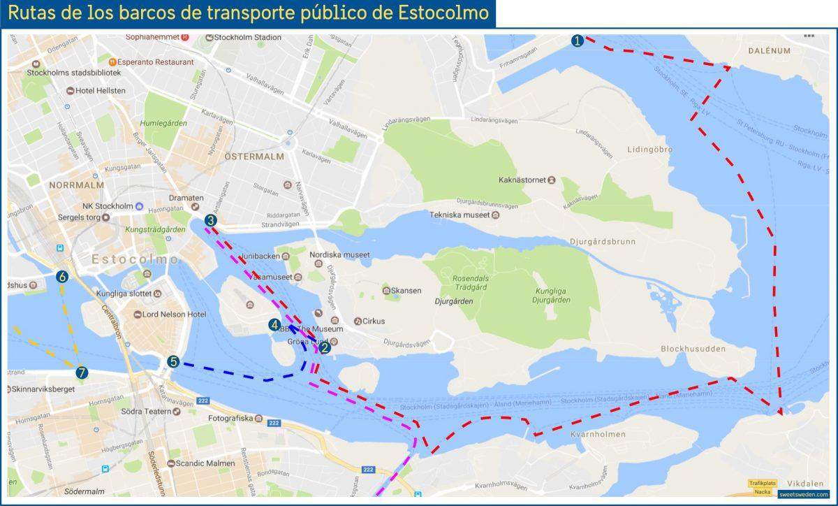Mapa con las rutas de barcos del sistema de transporte público de Estocolmo <br /> Israel Úbeda / sweetsweden.com