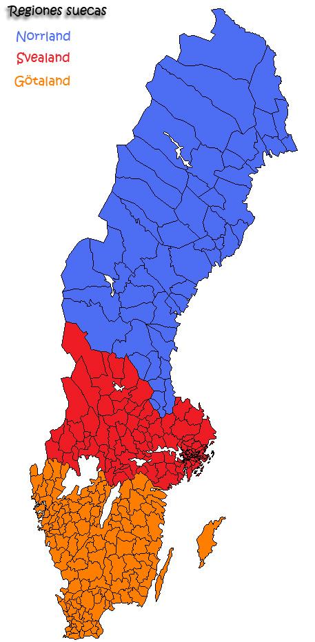 Las tres regiones suecas