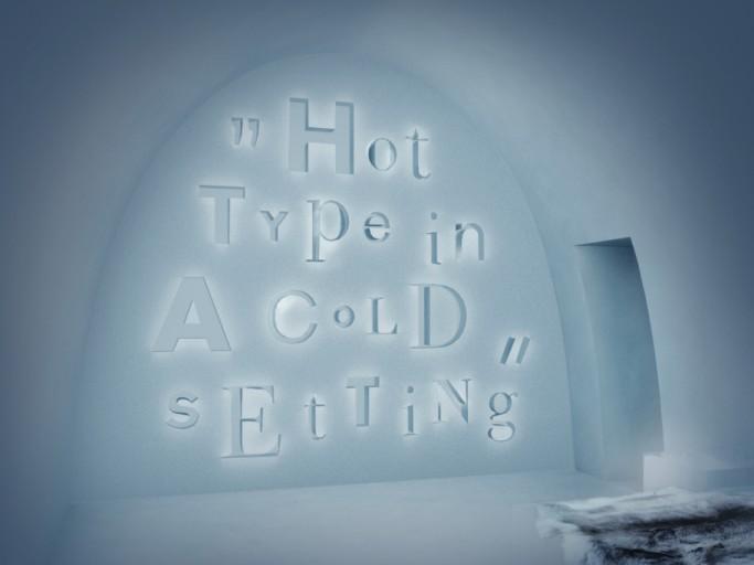 Sketch de la habitación HotType en el hotel de hielo