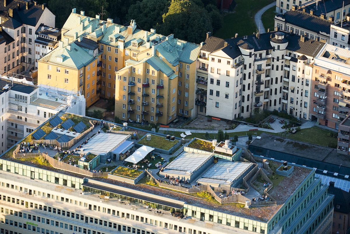 Takpark is a terrace and park at the top of the restaurant Urban Deli in Stockholm