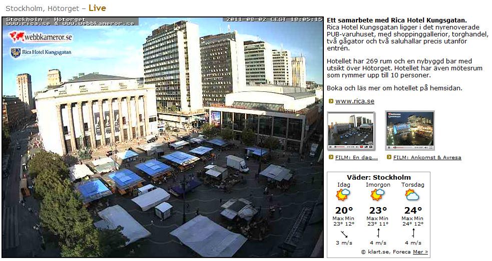 Captura de la webcam de Hötorget en Estocolmo el 2 de agosto de 2011
